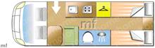 Hobby Vantana K60 T, 2016 motorhome layout