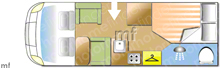 Burstner T685 55 Edition, 2014 motorhome layout