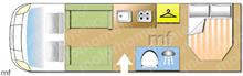 Elddis Encore 254, 2018 motorhome layout