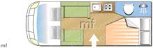 Swift Bolero 684, 2016 motorhome layout