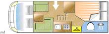 Dethleffs Globe 4 T6801-4, 2014 motorhome layout