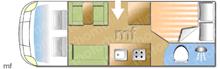 Bessacarr E564, 2013 motorhome layout
