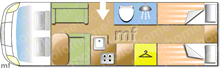 Hobby Optima T75HGE, 2016 motorhome layout