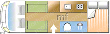 Autotrail Apache 632, 2011 motorhome layout