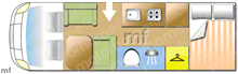 Adria Vision i707 SG, 2009 motorhome layout