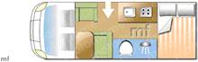 Hobby Optima V65GE, 2016 motorhome layout