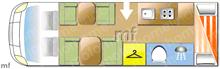Adria Coral XL 670 DK, 2018 motorhome layout