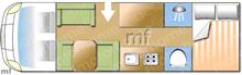 Dethleffs Esprit Comfort A7870-2, 2015 motorhome layout