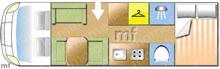 Dethleffs Trend A7877, 2018 motorhome layout