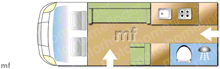 Autosleeper Symbol Plus, 2020 motorhome layout