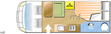 Benimar Mileo 231, 2016 motorhome layout