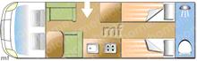 Dethleffs Trend t7017EB, 2022 motorhome layout