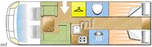 Dethleffs Globebus i006, 2021 motorhome layout
